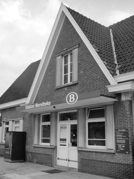 Het station van Merelbeke. Daarover is geen discussie mogelijk, want het staat in koeien van letters op de voorgevel.