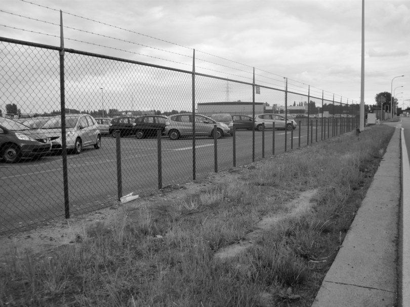 Een illegale foto van de parking waar pasgeboren Honda's worden opgesloten. Als de flikken deze foto vinden, zullen ze hem in beslag nemen.