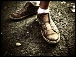 Maagdelijk witte sokken zijn een uitzondering op de Vlasmarkt. Het schijfje limoen zorgt voor evenwicht in de compositie.